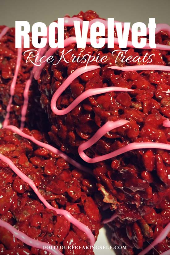 Gooey and delicious Red Velvet Rice Krispies Squares - or hearts if you're feeling fancy! - Doityourfreakingself.com
