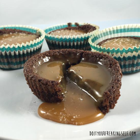 OMG YUM! Gooey and Boozy Salted Caramel Brownie Bowls - DoItYourFreakingSelf.com