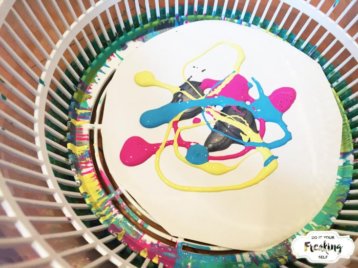 Create fun and mess free DIY Spin Art for your easter decorations! No machine needed, just a salad spinner, paper and paint!