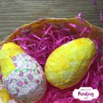 Use up your old scrap fabric to make some cute decoupage Easter Eggs. Cover water balloons in mod podge and fabric