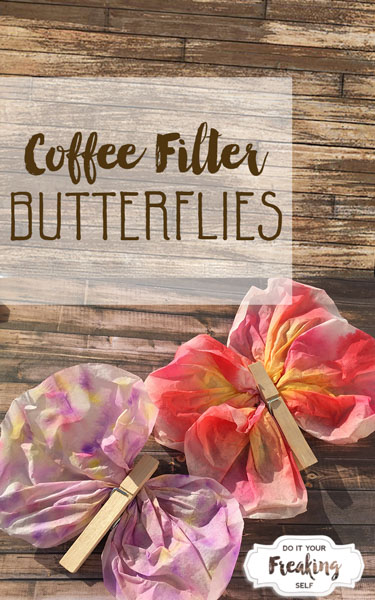 These coffee filter butterflies will keep your kiddos busy for a while. Just grab some watercolor markers, coffee filters, and a clothespin!