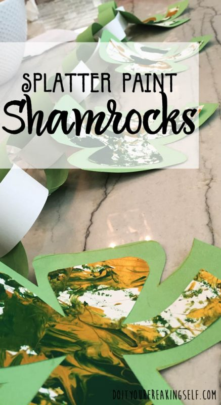 Fun No Mess Splatter Painting - Shamrocks. Great for seasonal decorations and kids of all ages. Toddler crafts, kids activities, kids art
