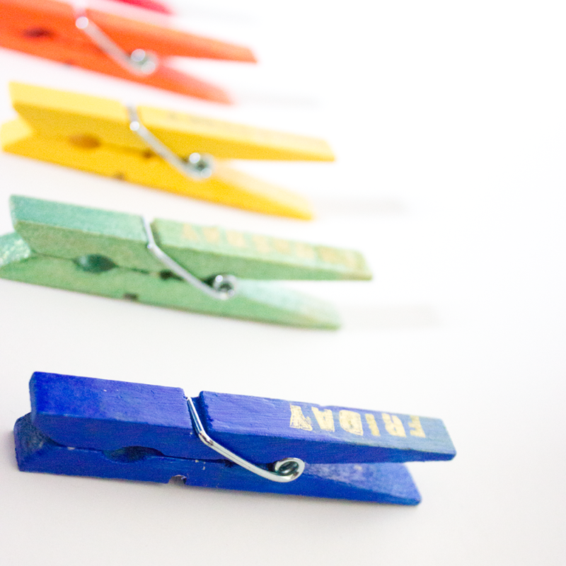Day of the Week Clothes Pin Magnets - Make and use rainbow clips to organize your closet, school lunches and to do lists