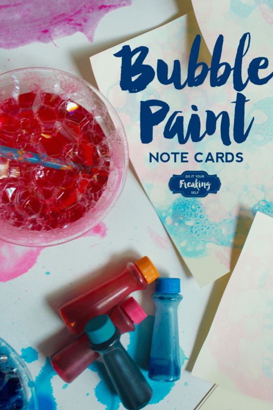 Bubble painting note cards are a fun project for kids of all ages. Creat sensory and art play opportunities with this tutorial. Or just make some really cool notecards for your gift packaging