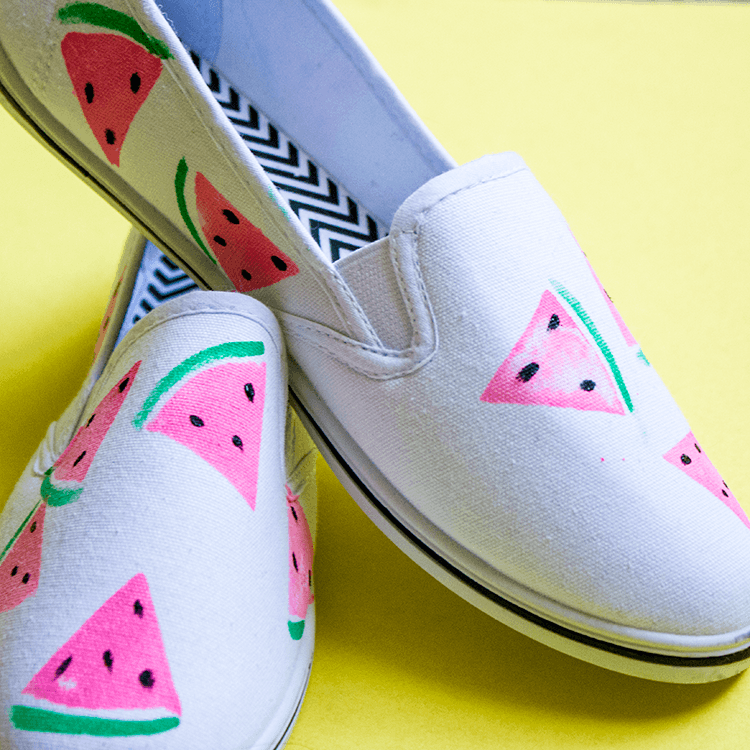 Feeling fruity? DIY Watermelon Shoes are quick, fun, fashion for your summer picnics!