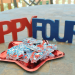 Make this fun patriotic firecracker bark with pop rocks for an great surprise! Great for 4th of July, Memorial Day and Team USA parties!