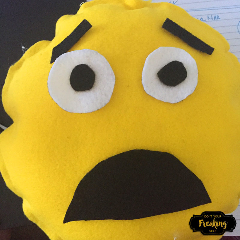 Make your own no sew DIY Emoji Pillow Busy Bag for toddlers and up. Great for keeping kids busy and off the screen during wait times.