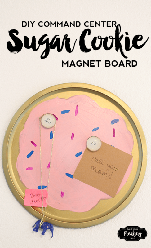 Use an old Pizza pan to create a one of a kind Sugar Cookie DIY Magnet Board. Sweeten up your home command center or dorm room!