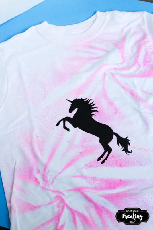 Make a tie dye style tshirt with this DIY Unicorn Spray Paint Shirt. Simple, quick and unique styles for you to create!