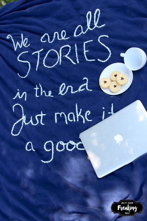 Show off your crafty Whovian side this fall with a Quote Embroidered DIY Doctor Who Blanket.