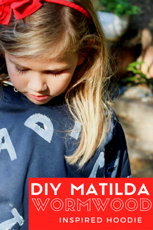 Create a hooded sweatshirt for the little book lover in your life! This Matilda Wormwood inspired hoodie is perfect for snuggling up with a good book! | Roald Dahl Day | Costume | Easy Halloween | Potato Stamp | Kids Projects - Do It Your Freaking Self
