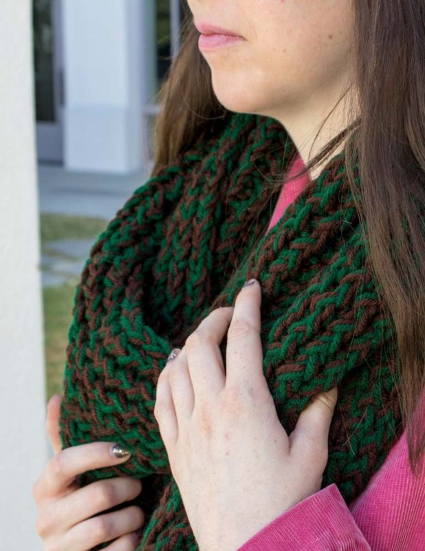 Knit up a warm and fun infinity loom knit scarf in just a few hours! A great project for beginners to create stunning hand made gifts in half the time!