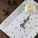 Decorate a ceramic plate with this easy DIY Sharpie plate tutorial for your next gathering. A different take on the sharpie mug, this plate looks great on your table or as a centerpiece.