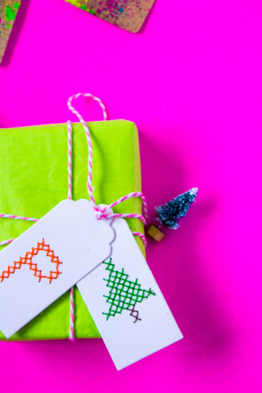 Create fun and unique cross stitch gift tags for everyone on your list. A creative option of gift wrap all year long. - Christmas tags | template | cross stitch pattern | handmade | bright and colorful - Do It Your Freaking Self
