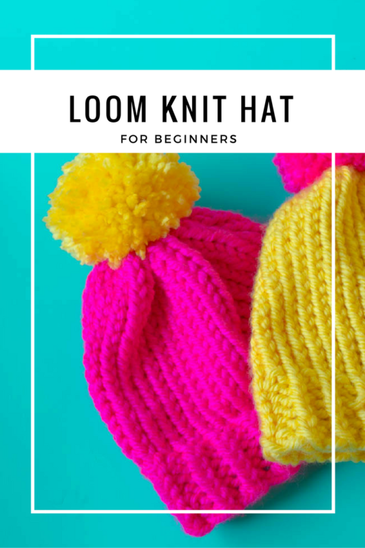 Need a last minute hat? Create a simple loom knit hat in just a few hours! Complete with giant pom pom! A great gift or beginner project! - Free pattern | Tutorial | with brim | winter hats | loom knit projects - Do It Your Freaking Self