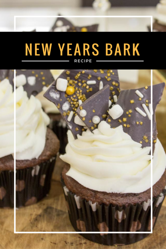 Dress up your New Years Eve Dessert with some easy and classy chocolate bark! Use it as a cupcake topper or part of your party candy buffet! Recipe | Fancy | Edible cupcake topper | New Years Party Food | Easy chocolate bark - Do It Your Freaking Self
