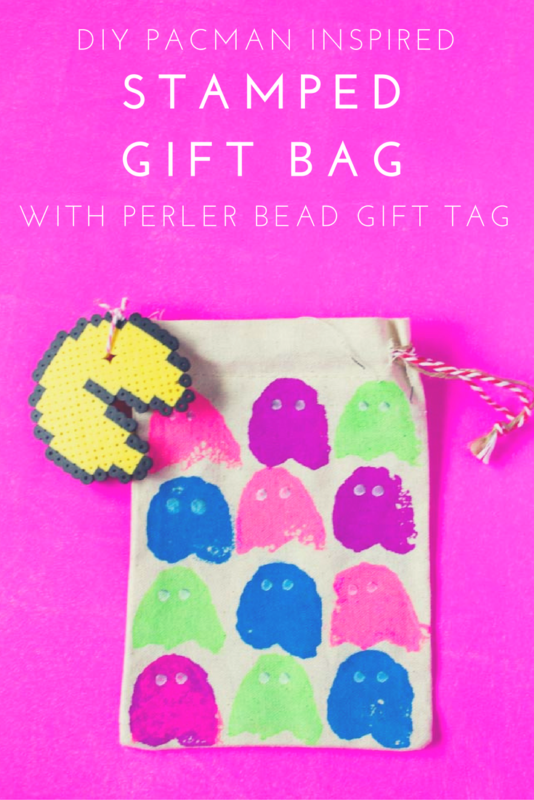 Gear up for some arcade themed fun with this Stamped PacMan DIY Gift Bag. A fun project to give as a gift or to hold all of your loot! | Holiday DIY | Gift wrapping | arcade party | Do It Your Freaking Self
