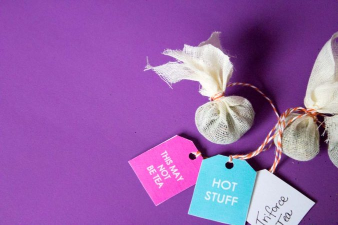 Make tea time more fun with some DIY Tea bags and some sassy printable tea tags! A great simple gift for gal pals, mothers day, or a spa gift set! - Do It Your Freaking Self