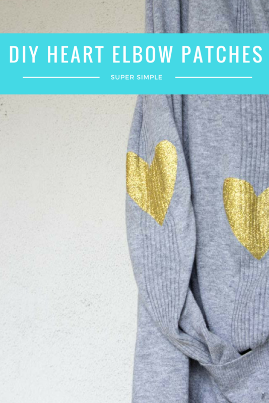 Breathe new life into an old sweater with a quick DIY Glitter Heart Elbow Patch! Simply cut out and iron in the desired location and you've got a whole new look! - Heart Patch Sweater | Elbow Patch | DIY Upcycle | Cardigan | Valentines - Do It Your Freaking Self