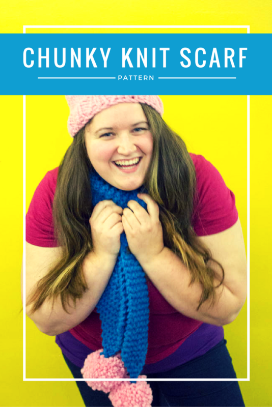 Whip up a quick and easy scarf with this super simple chunky knit scarf pattern! Sure to keep you warm and toasty, but not dreary during the winter months! | Beginners Knitting Projects | chunky knits | pom pom scarf | quick knitting - Do It Your Freaking Self