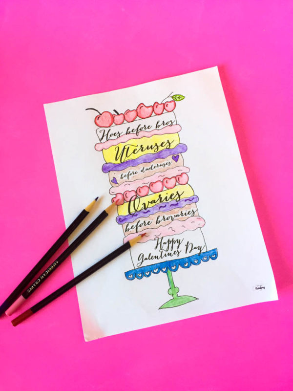 Free printable Galentines coloring page and DIY layered crayons for your Galentines Day event. Parks and rec | Leslie Knope | Galentines Day Party | Activities | Printable | shape Crayons