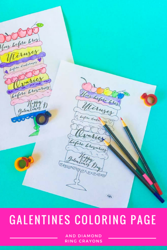 Free printable Galentines coloring page and DIY layered crayons for your Galentines Day event. Parks and rec   Leslie Knope   Galentines Day Party   Activities   Printable   shape Crayons