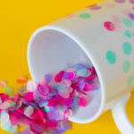 Looking for a fun spring craft project? This confetti mug is easy and adds color to your morning!   DIY Confetti Mug   Tissue paper confetti   Mod podge crafts   DIY Latte Mug - Do It Your Freaking Self