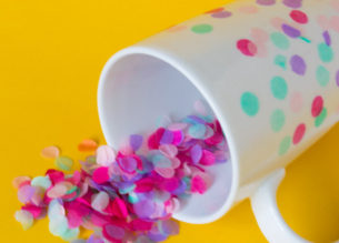 Looking for a fun spring craft project? This confetti mug is easy and adds color to your morning! | DIY Confetti Mug | Tissue paper confetti | Mod podge crafts | DIY Latte Mug - Do It Your Freaking Self