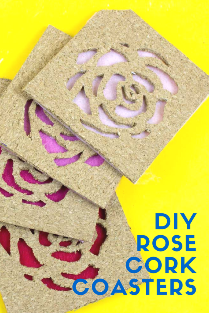 Use IKEA Avskild Placemats to create these simple rose cut out cork coasters for your next girls day or The Bachelor viewing party! - Do It Your Freaking Self - Cork Coasters | Custom Coasters | The Bachelor party | The bachelorette | Girls Day
