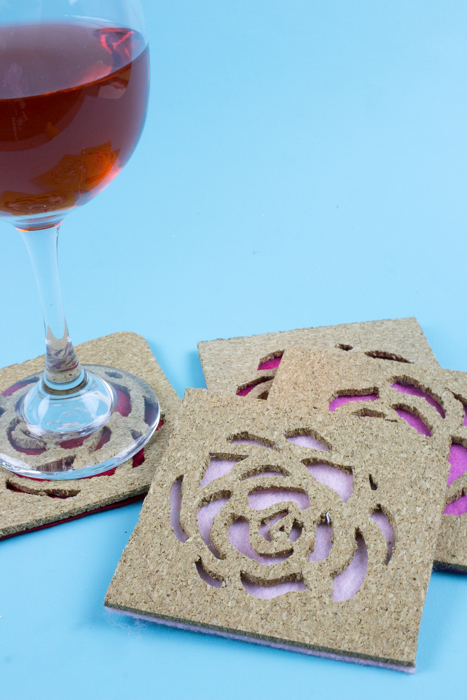 Use IKEA Avskild Placemats to create these simple rose cut out cork coasters for your next girls day or The Bachelor viewing party! - Cork Coasters | Custom Coasters | The Bachelor party | The bachelorette | Girls Day