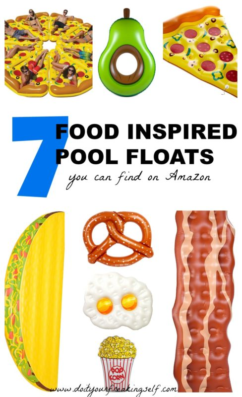 Your swimming pool should be home to giant flamingos, unicorns and champagne dreams this summer! Check out this season's hottest pool floats! - Pizza pool floats | bacon | eggs | Taco | pretzel | avocado | Food pool floats - Do It Your Freaking Self