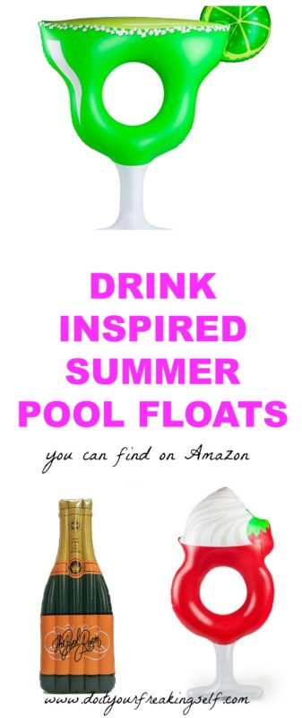 Lay on a drink inspired pool float with a drink in your hand! Here's the hottest summer pool floats from Amazon! - Margarita | Champagne | Daiquiri pool float - Do It Your Freaking Self