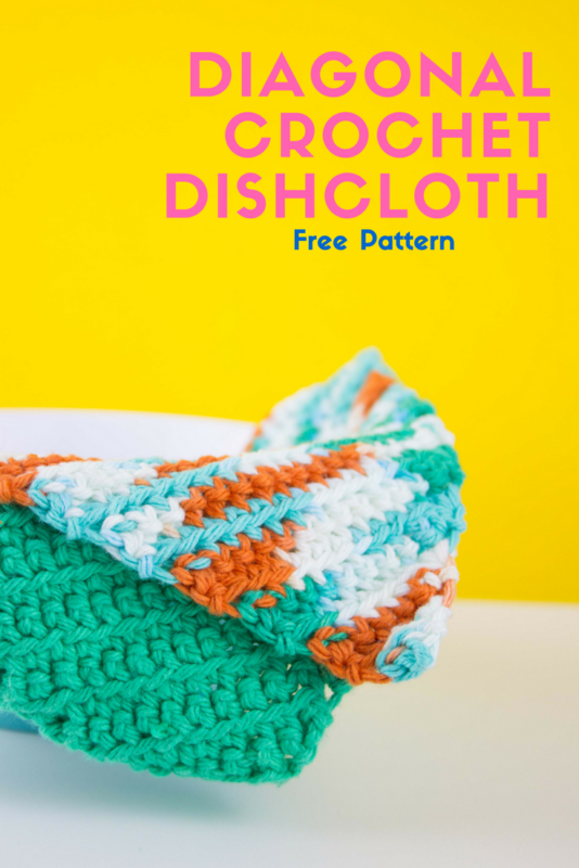 Do It Your Freaking Self Diagonal Crochet Dishcloth With Free