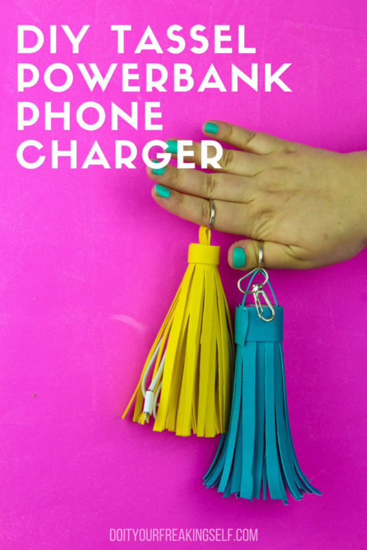 Charge your phone in style with a Leather Tassel Power Bank Keychain. Never be without your portable phone charger with this diy! - DoItYourFreakingSelf.com