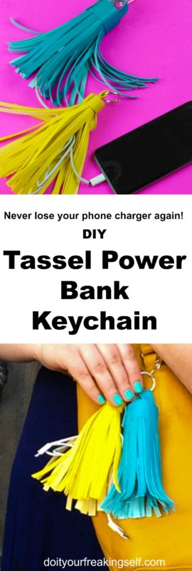 Charge your phone in style with a Leather Tassel Power Bank Keychain. Never be without your portable phone charger with this diy! Great for bridesmaid gifts, roadtrip pals, concert festival survival kits.  - DoItYourFreakingSelf.com