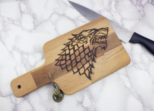 Create your own wood burned Game of Thrones House Stark Cutting board with this easy tutorial. If you've ever wanted to try wood burning, this is a fun projectfor Game of Thrones fans.