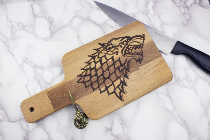 Create your own wood burned Game of Thrones Cutting Board with this easy tutorial. If you've ever wanted to try wood burning, this is a fun projectto get you started!