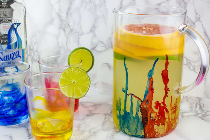 Create to impress this summer with this DIY Alcohol Ink Pitcher and Glass set! A perfect fit for a backyard party or watercolor paint and sip!