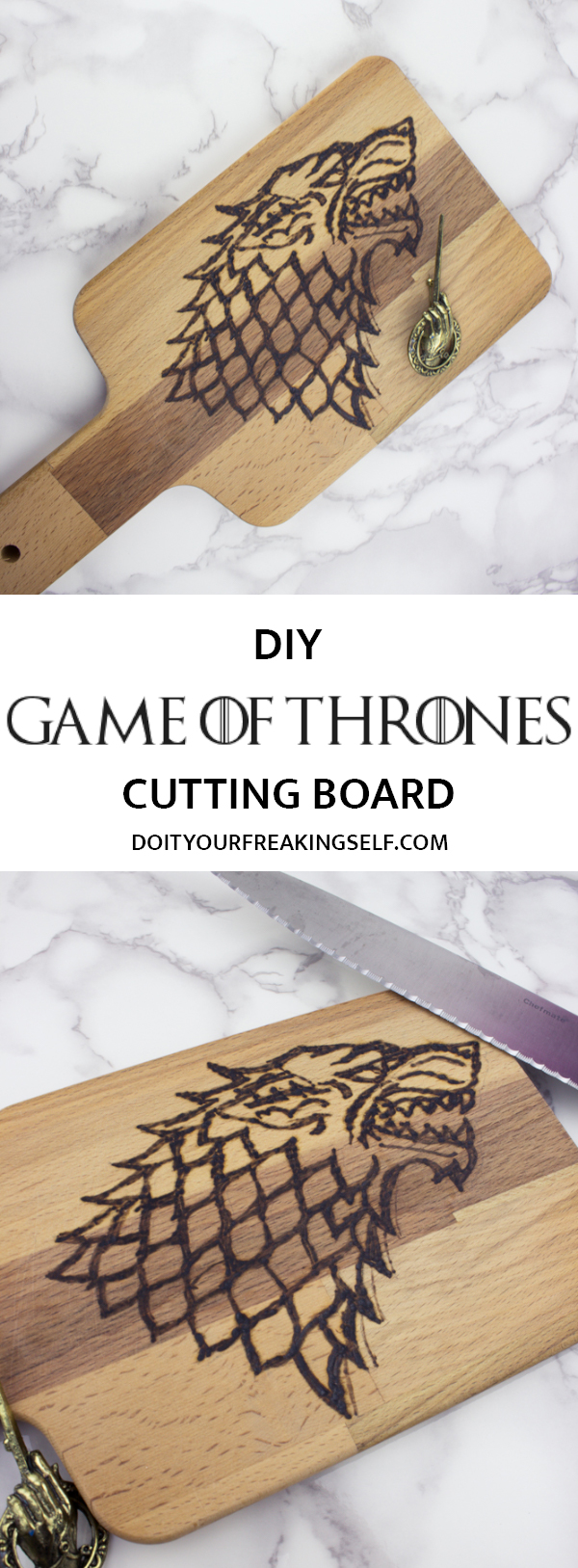Create your own wood burned Game of Thrones House Stark Cutting board with this easy tutorial. If you've ever wanted to try wood burning, this is a fun project for Game of Thrones fans.