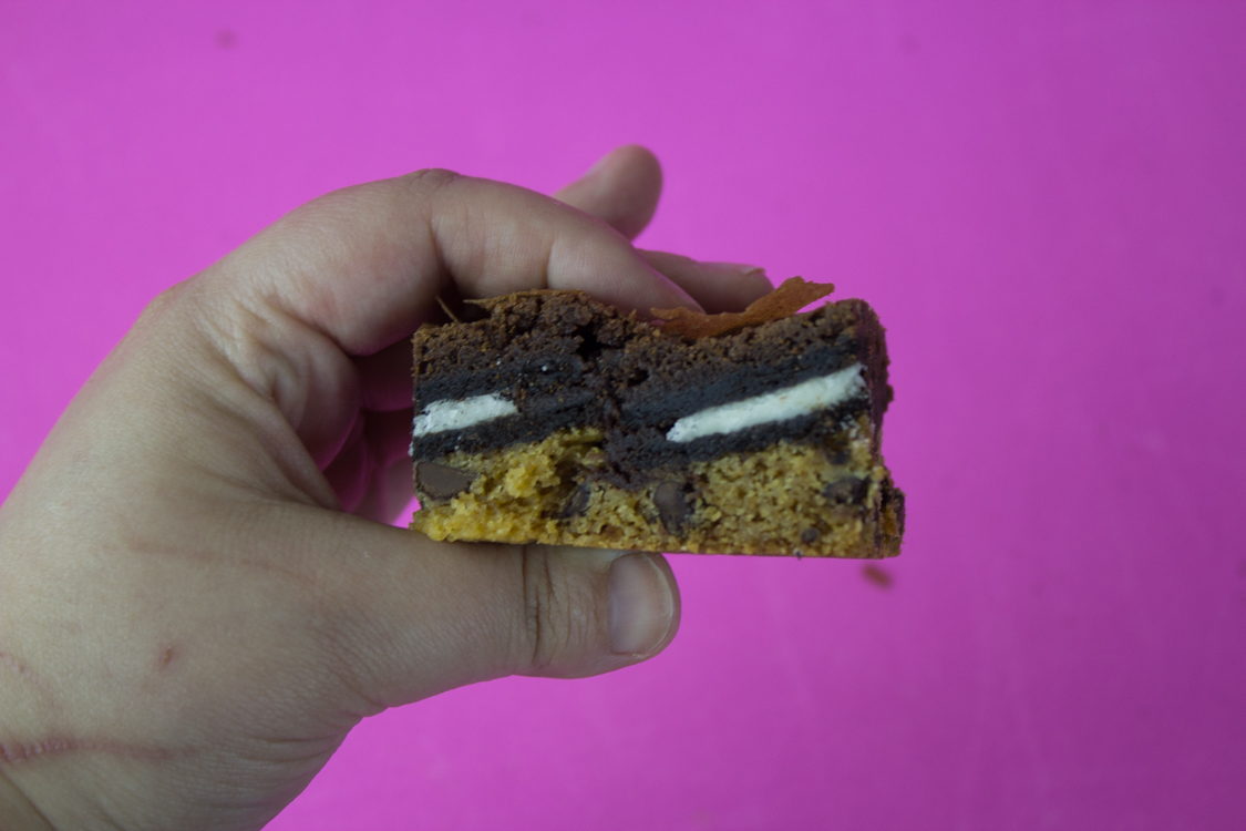 Treat yo'self to layers of delicious chocolate chip cookie, oreos and brownie batter! Indulge in some rich chocolate goodness with easy slutty brownies.