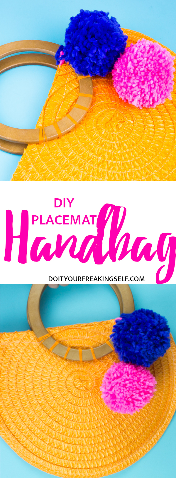 Take some cheap dollar store placemats and turn them into a bright and colorful DIY Placemat Handbag with a sew or glue method!