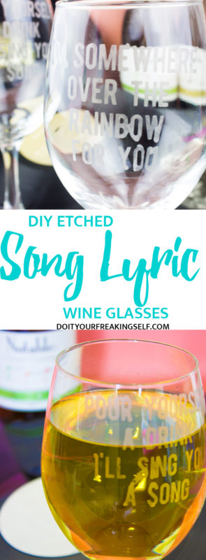 Pair your favorite songs with your favorite wine with these simple Song Lyric Etched Wine Glasses. Great for girls nights, listening parties, hostess gifts and more!