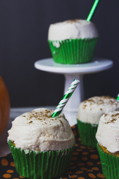 Get into the fall spirit with these delicious and decadent Pumpkin Spice Latte Cupcakes with cinnamon cream cheese frosting! - Do It Your Freaking Self - fall | easy | diy | homemade | with a mix