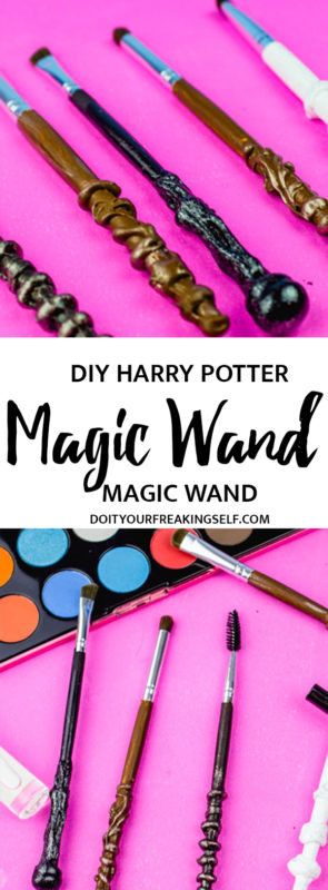 Create your own magical DIY Harry Potter Makeup Brushes for under $10! These brushes will take your makeup game to a whole new spellbinding level.