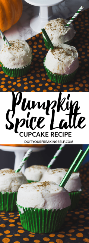 Get into the fall spirit with these delicious and decadent Pumpkin Spice Latte Cupcakes with cinnamon cream cheese frosting! - Do It Your Freaking Self - fall   easy   diy   homemade   with a mix