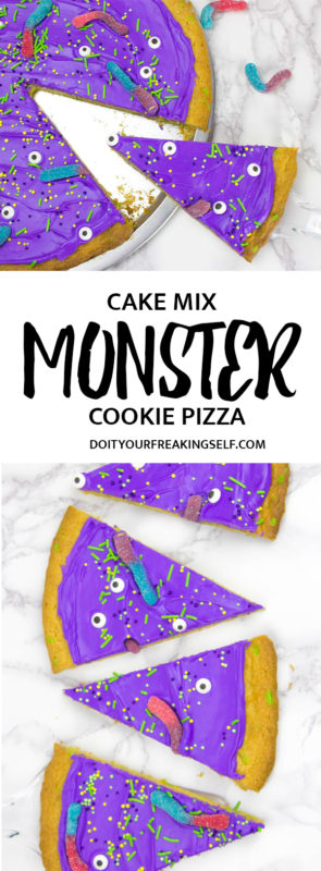 This cake mix monster cookie cake is a super simple dessert to make for all of your Halloween parties! This giant cookie is an adorable crowd pleaser!