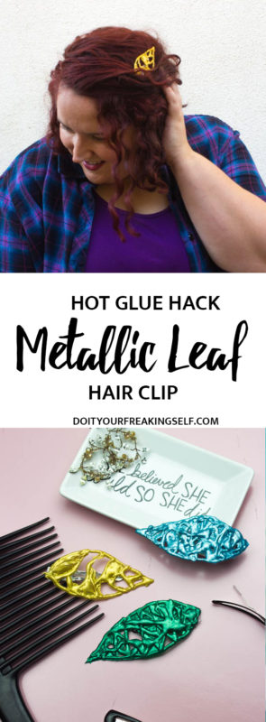 Enhance your fall style with a rich and vibrant new shade and this simpleEasy Metallic Leaf Hair Clip made from hot glue! #ad #FashionColorExpert @SchwarzkopfUSA @Walmart