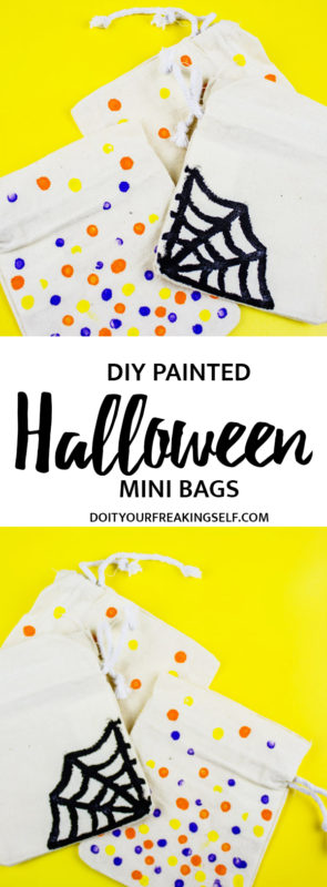 Create these simple Painted Halloween Mini-Giftbags for all of your holiday treats and goodies! A quick project for everyone to enjoy! | Halloween | Kids Crafts | Party favors | Party ideas - doityourfreakingself.com