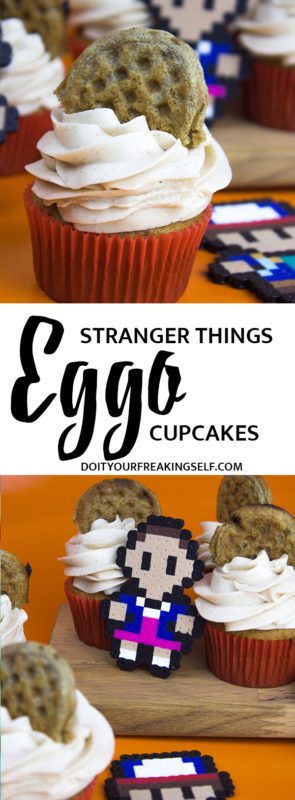 Sweeten up your Stranger Things party with these delicious Eleven's Eggo Cupcakes! Cinnamon nutmeg cake topped with maple syrup buttercream and a mini waffle! #strangerthings #eggocupcake #cupcake - Do It Your Freaking Self