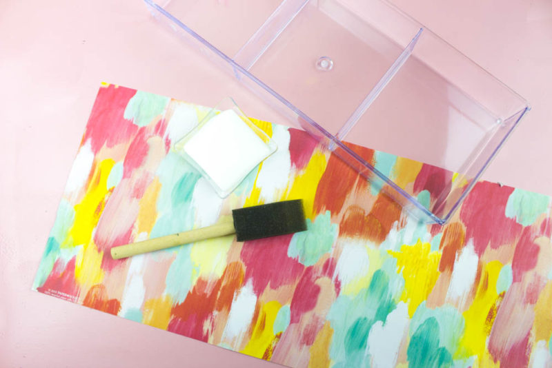 DIY Easy Vanity Organizer Supplies - Acrylic Tray, Patterned paper, decoupage glue